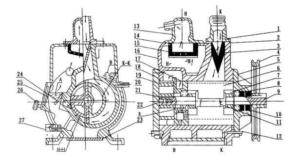 2X旋片式真空泵的结构图